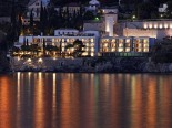 View on luxury Hotel Villa Dubrovnik from the sea by night