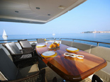 Stern deck with dining table on the yacht Elegance 82
