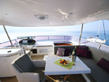 Flybridge on the charter yacht Elegance 82