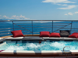 Pool on fly bridge on the luxury charter mega yacht in Croatia based in Split