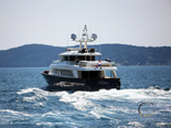 From the stern of the Navetta 30 Custom Line a luxury yacht charter in Croatia