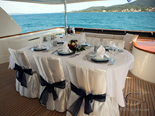 Dining on deck one on Navetta 30 Custom Line a luxury charter yacht in Croatia