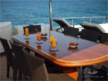 Dining on deck two on Navetta 30 Custom Line a luxury charter yacht in Croatia