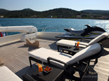 Sunchairs on deck two on Navetta 30 Custom Line a luxury charter yacht in Croatia