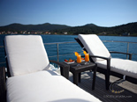 Sunchairs on deck three on Navetta 30 Custom Line a luxury charter yacht in Croatia