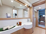 Master cabin bathroom on Ferretti 620 a luxury yacht for charter in Dubrovnik and Croatia