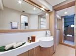 Master cabin bathroom on Ferretti 620 a luxury yacht for charter in Dubrovnik and Croatia