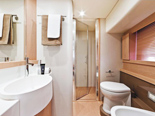 VIP cabin bathroom on Ferretti 620 a luxury yacht for charter in Dubrovnik and Croatia